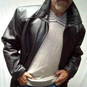 Leather XL Jacket zipper black Croft and Barrow